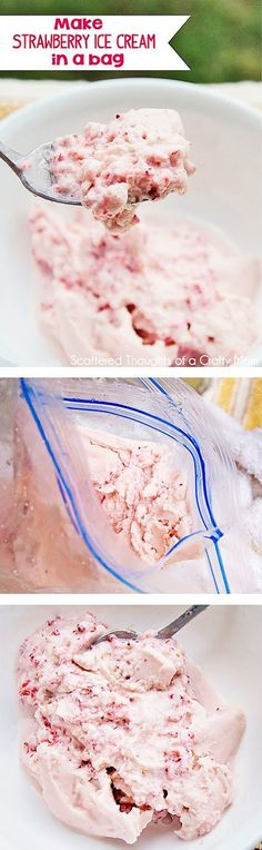 DIY Project for the Kids: Make Homemade Strawberry Ice Cream in a Bag! (Icecream Recipes In A Bag) Homemade Strawberry Ice Cream, Diy Ice Cream, Homemade Ice Cream, Strawberry Recipes, Rock Salt Ice Cream, Strawberry Jam, Frozen Desserts, Just Desserts, Puddings