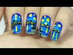 Vincent van Gogh – Starry Night Over the Rhone [Freehand Nail Art] | StarryNail