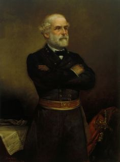 """""""Robert E Lee  oil on canvas"""" by The Fine Art Masters, New York // Robert E. Lee; General of the Confederate Army; Confederate; Virginia; Robert Edward Lee; General Lee; General; military commander; soldier; General; army; American Civil War; Marble Man; Union; posthumous; portrait; male; three-quarter length; crossed arms; uniform; bearded... // Imagekind.com -- Buy stunning fine art prints, framed prints and canvas prints directly from independent working artists and photographers."""