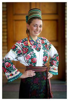 Ukrainian girl folk costume.