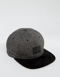ASOS Snapback Cap In Monochrome Melton Mix With Contrast Peak Contrast af3c577f555a
