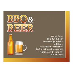 If you are looking for a Barbeque or Outing invitation cards, then this BBQ & Beer Party Invitation Card is perfect for you, and it's totally customizable!