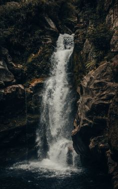 Wallpaper waterfall stream rock spray water - Wallpapers HD