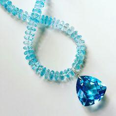 55 carat Sky Blue Topaz necklace with a Diamond bail on a rope of Topaz rondelle beads. #oneofakind #fabulous www.johnmeierfinejewelry.com