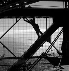Fred Lyon - Painting the Golden Gate Bridge, 1950 by Fred L