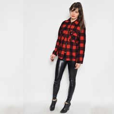 Vintage 90's Grunge Red and Black Zipper by BlackPaganVintage
