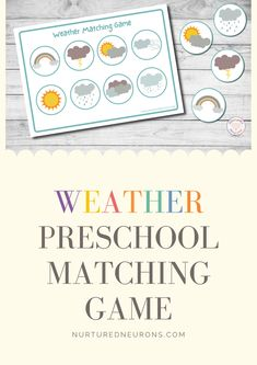 A beautiful little weather game for toddlers and preschoolers. These kind of preschool matching activities are brilliant for developing visual discrimination and fine motor skills. Download the game over at Nurtured Neurons. #weatherprintables #preschoolweather #preschoollearning #toddleractivites #toddlergames #preschool #toddlers Preschool Weather, Preschool Games, Free Preschool, Preschool Learning, Toddler Preschool, Educational Activities, Toddler Activities, Games For Toddlers, Parenting Toddlers