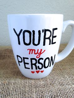 Hand Painted MugYou are my person Black and by STITCHandCABOODLE, $10.00