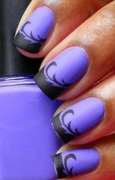 Matte purple & black floral halloween nail art