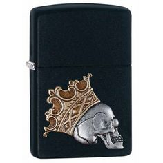 Zippo Windproof Skull With King Crown Emblem Lighter