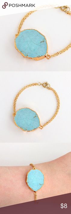 "Gold-plated genuine turquoise howlite bracelet True beauty in simplicity!  A gold-plated genuine turquoise howlite stone takes center stage in this gorgeous subtle statement piece...sure to attract loads of attention and compliments.  Ideal alone or stacked with other bracelets, you'll love the delicate shades of blue...like an icy lake!  Nickel and lead free; measures about 7"" long.  PRICE IS FIRM and extremely reasonable, but click ""add to bundle"" to save 10% on your purchase of 2+ items…"