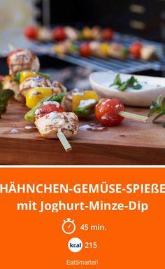 Hähnchen-Gemüse-Spieße - mit Joghurt-Minze-Dip - smarter - Kalorien: 215 kcal - Zeit: 45 Min. | eatsmarter.de