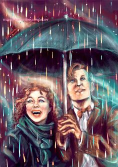 The Doctor and River in Rain Gods