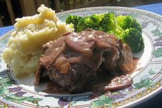Best Salisbury Steak With Mushroom Gravy from Food.com:   								Found this recipe in Sourthern Living, this is the only salisbury steak my husband likes so far.