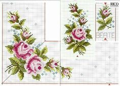This Pin was discovered by Esr Cute Cross Stitch, Cross Stitch Borders, Cross Stitch Rose, Cross Stitch Flowers, Cross Stitch Designs, Cross Stitch Patterns, Embroidery Flowers Pattern, Diy Embroidery, Cross Stitch Embroidery