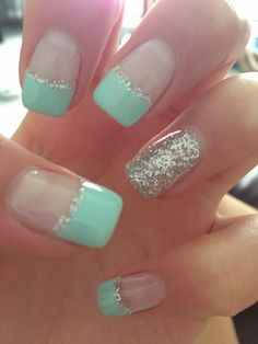 Mint sparkle nails, cute, just needs to be shorter Sexy Nails, Prom Nails, Love Nails, Wedding Nails, Wedding Pedicure, Homecoming Nails, Mint Green Nails, Aqua Nails, Mint Blue