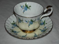 ROYAL ALBERT BONE CHINA ENGLAND CUP & SAUCER WITH BLUE FLOWERS COLLECT MOM  (142<br/>Cups & Saucers - 63525