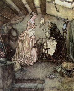Sleeping Beauty and the Spinning Wheel by Edmund Dulac (watercolor, pen & ink)