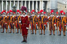 Photo about VATICAN - CIRCA APRIL 2005 : Pontifical Swiss Guards stand by during pope elections circa April 2005 in Vatican. Image of pontific, european, favorite - 11565682 Swiss Guard, Rome City, Bride Of Christ, Renaissance Era, Catholic Saints, Traditional Dresses, Trip Advisor, Travel Advisor, Angels