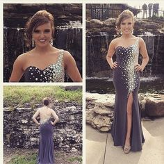 Mermaid Prom Dress New Style Grey Prom Dresses Sexy Beading Evening Gown Elegant Party Gowns