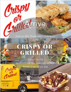 Join us this Wednesday for the Crispy or Grilled Food Truck! They will be set-up at the leasing office. Pet Friendly Apartments, Grilled Food, Leasing Office, Apartment Communities, Houston Tx, Grilling Recipes, Food Truck, Wednesday, Join