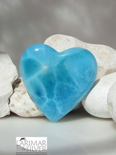 Larimar heart -- I really admire the larimar crystal because it looks like it has water ripples :)