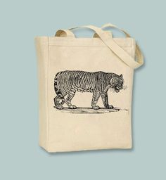 Vintage Tiger Illustration Canvas Tote - Selection of sizes available, image in ANY COLOR by Whimsybags on Etsy