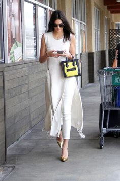 in The Row tunic, Sophia Webster shoes and Celine bag in Hollywood.MAY 13, 2015 KENDALL JENNER'S STREET STYLE