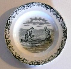 """Canadian Sport"" Transferware plate - ca.1880"