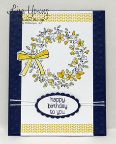 Stampin' Up! Circle of Spring stamp set. Navy and Yellow birthday card. Handmade birthday card by Lisa Young, Add Ink and Stamp