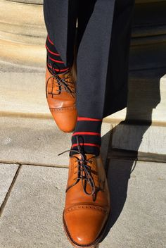 These premium dress socks are stylish with tasteful red stripes that are appropriate for Monday's meeting or Saturday's dinner party. Proudly knit in North Carolina, USA using soft merino wool.