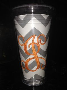 Monogram Cup with Straw Embroidered Tumbler by BradleyGin on Etsy, $17.00