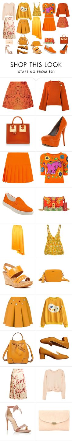"""Orange Power"" by quinn-avina ❤ liked on Polyvore featuring Alice + Olivia, Vanessa Bruno, Sophie Hulme, Qupid, Miu Miu, Moschino, Steve Madden, Valentino, Topshop and Diane Von Furstenberg"