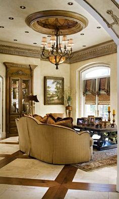 Marge Carson - ceiling medallion, floor pattern, color of sofa