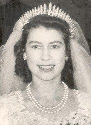 Queen Elizabeth II wearing the Fringe Tiar on her wedding day