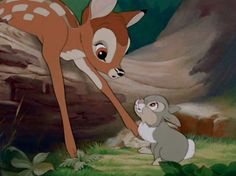 "Encouragement – Bambi and Thumper  A little encouragement goes a long way. Thumper helps Bambi learn to walk (""Kinda wobbly, isn't he?""), talk (""Bird!""), and hop over a tree stump (""You can do it. Hop over it, like this!""). That's a lot of encouragement in one entirely adorable and precious friendship."