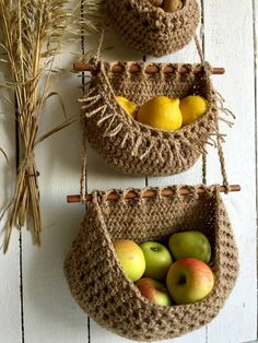 Hanging Fruit Baskets, Large Baskets, Wall Basket Storage, Baskets On Wall, Jute, Vegetable Basket, Crochet Storage, Estilo Boho, Biodegradable Products