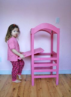 I want to make this!  DIY Furniture Plan from Ana-White.com  Bring your child to counter height with this Little Helper Tower. Features adjustable height platform, removable tip resistant kit, and optional fold flat modification.