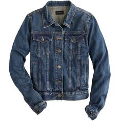 J.Crew Vintage Denim Jacket ($130) ❤ liked on Polyvore featuring outerwear, jackets, tops, coats & jackets, coats, button jacket, blue denim jacket, vintage denim jacket, j crew jacket and tailored jacket