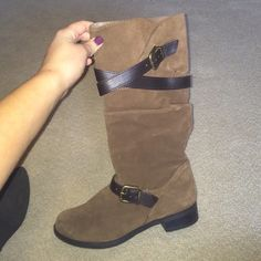 Riding boots Suede with leather straps, worn twice Nine West Shoes