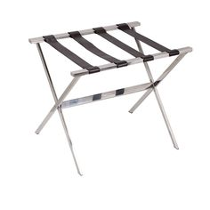 Stainless Steel Luggage Rack. Household Essentials Stainless Steel Luggage Rack is an attractive and elegant luggage rack with sturdy, dark brown, faux leather straps. The luggage rack folds open and stands on tapered legs for a more secure stance. It is at the perfect height to comfortably access a suitcase sitting on it. The stand is the perfect way to welcome a guest or yourself. Because it folds, you can even take it with you when you travel so you can keep your luggage...
