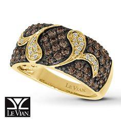 Chocolate Diamonds® Ring 1 ct tw Round-Cut 14K Honey Gold™