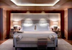 Luxury bedroom on the superyacht Numptia with interior design by Salvagni Architetti
