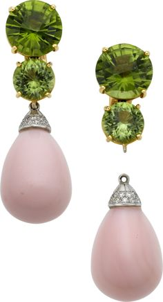 I LIKE pink opals! Paolo Costagli: Peridot, Pink Opal, Diamond, Gold Earrings on Heritage Auctions