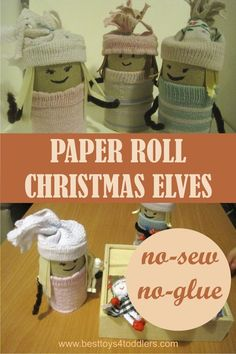 No-Sew & No-Glue Paper Roll Christmas Elves - 15 minute to make and hours to play!
