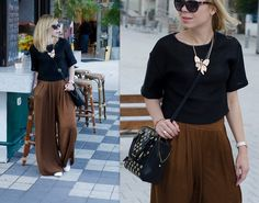 Liat Neuman - Mango Wide Pants, Mango Crop Top, Nine West Bag, Zara Sneakers - The streets of Tel Aviv
