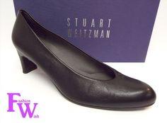 99.00$  Buy here - http://viscu.justgood.pw/vig/item.php?t=nnc02em14744 - STUART WEITZMAN Size 8.5 CHICPUMP Black Leather Mid Heel Pumps Shoes 8 1/2 99.00$