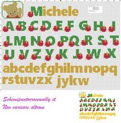 alfabeto winni con miele schema punto croce gratis