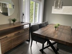 TABLE ST-IRÉNÉE - NOYER - 84'' X 42'' - BUFFET AUGUSTA NOYER - CHAISES MONROE TISSU C-783 #lusine #table #stirenee #noyer #buffet #augusta #chaise #monroe #tissu #c783 Chaise Chair, Dining Bench, Monroe, Rustic, Buffets, Dressers, Tables, Chairs, Furniture