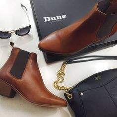 """Dune London Pointed Chelsea Boots Details: • Size 6 • Distressed chestnut leather with black elastic  • 1"""" heel • Brand new in box, box has some wear   02251602 Dune London Shoes Ankle Boots & Booties"""